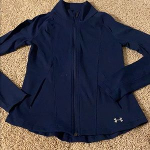 Under armor navy zip up fitted coat extra small